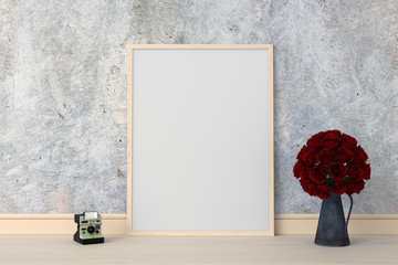 Blank photo frame for mockup on the floor, 3D rendering