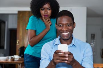 Jealousy african american woman distrust her boyfriend