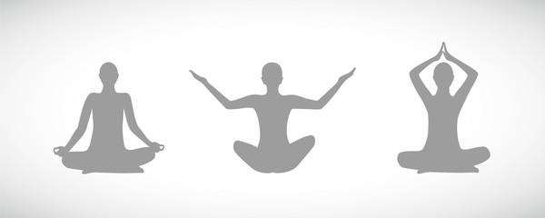 drei personen meditieren