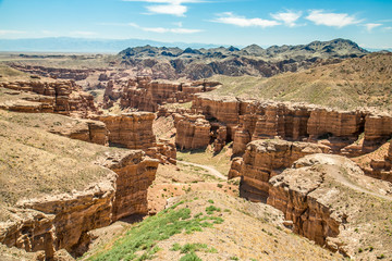 Sharyn Canyon -geological formation consists of sedimentary red sandstone- is a canyon on the Sharyn River in Kazakhstan. Charyn National Park.