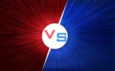 Versus screen design. Red and blue VS letters. Light warp speed. Vector illustration