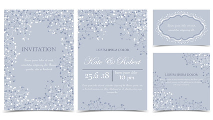 Vector illustration romantic floral background. floral decorations on a grey background. Set of greeting cards