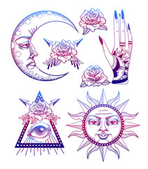 An ancient astronomical illustration of the sun, the moon, the stars, the rose, the eye in the graphic style of the antique. Magical vector illustration.