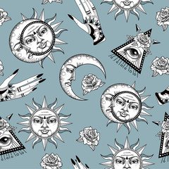 Seamless pattern with ancient astronomical illustration of the sun, the moon