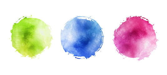 Illustration of watercolor circles with uneven grunge, round multicolored frames for background with drops on the edge
