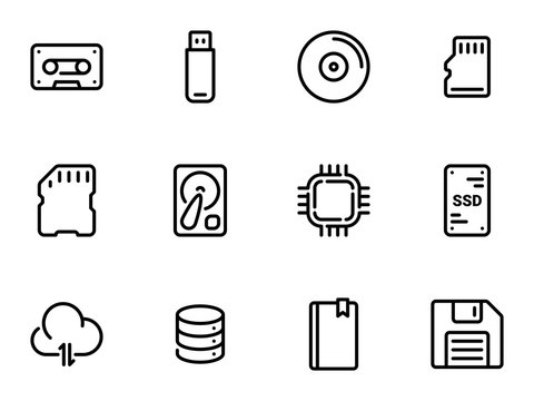 Set of black vector icons, isolated on white background, on theme Data storage