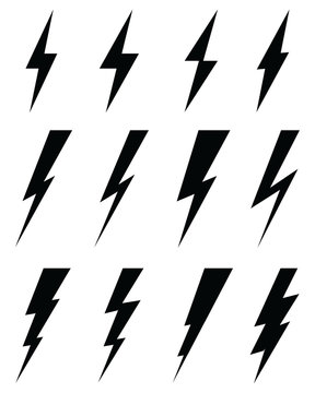 Black icons of thunder lighting on a white background