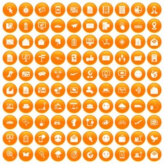 100 mail icons set in orange circle isolated on white vector illustration
