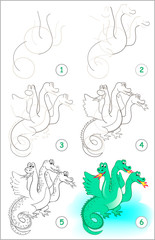 Page shows how to learn step by step to draw a cute dragon. Developing children skills for drawing and coloring. Vector image.