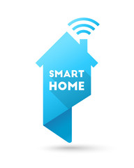 Smart home concept. House with wi-fi signal and wireless techonology as map pin design.
