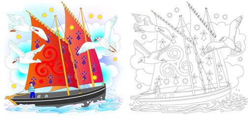 Colorful and black and white pattern for coloring. Fantasy drawing of ancient Celtic sailboat. Worksheet for children and adults. Vector image.