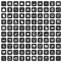 100 computer icons set in black color isolated vector illustration