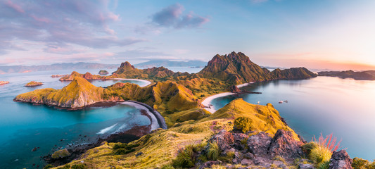 Top view of Padar Island before a morning from Komodo Island (Komodo National Park), Labuan Bajo, Flores, Indonesia Wall mural