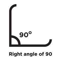Right angle of 90 degrees icon vector sign and symbol isolated on white background, Right angle of 90 degrees logo concept