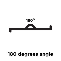 180 degrees angle icon vector sign and symbol isolated on white background, 180 degrees angle logo concept