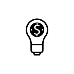 Lamp with dollar symbol vector. Idea is money concept. Lamp idea vector illustration. Idea vectir icon. Lamp icon.