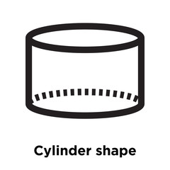 Cylinder shape icon vector sign and symbol isolated on white background, Cylinder shape logo concept