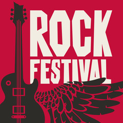 Vector poster or banner for Rock Festival with an electric guitar and wing on red background.