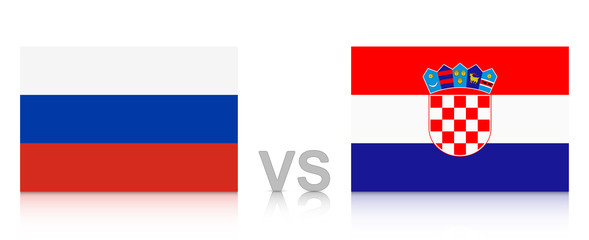 Russia vs. Croatia. 2018 tournament. National flags with reflection isolated on white background.