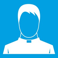 Priest icon white isolated on blue background vector illustration