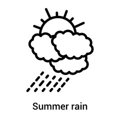 Summer rain icon vector sign and symbol isolated on white background, Summer rain logo concept