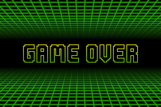 Retro 80s Game Over Background. EPS10 Vector With Transparency