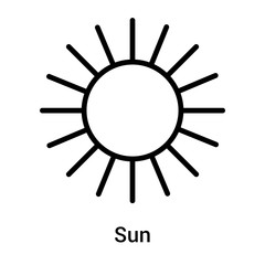 Sun icon vector sign and symbol isolated on white background, Sun logo concept