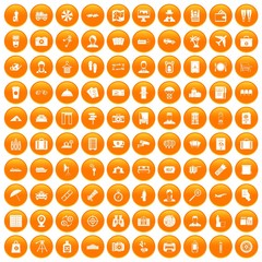 100 passport icons set in orange circle isolated on white vector illustration