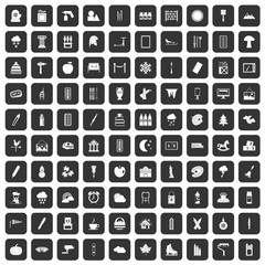 100 drawing icons set in black color isolated vector illustration