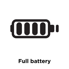 Full battery icon vector sign and symbol isolated on white background, Full battery logo concept