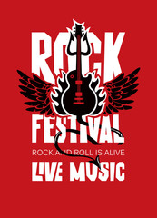 Vector poster or banner for Rock Festival of live music with an electric guitar, wings, fire and devil trident on red background. Rock and roll is alive