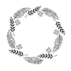 Doodle monochrome berry and leaf circle frame on a white background. Wreath of leaves. Ready template for design, postcards, printing.