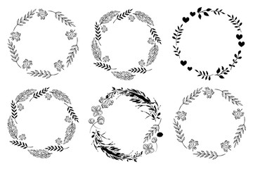 Set of monochrome circle frames. Doodle leaf, flowers and berry wreaths. Ready templates for design, postcards, printing.