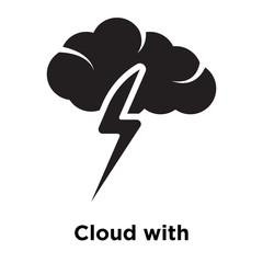 Cloud with thunderbolt icon vector sign and symbol isolated on white background, Cloud with thunderbolt logo concept