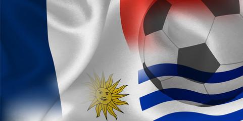 フランス ウルグアイ  国旗 サッカー