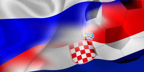 ロシア クロアチア  国旗 サッカー