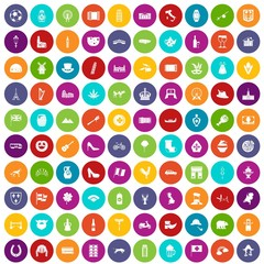 100 Europe icons set in different colors circle isolated vector illustration