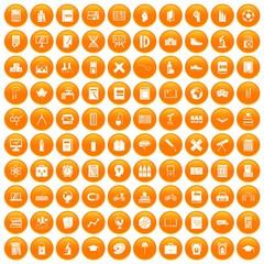 100 school icons set in orange circle isolated on white vector illustration