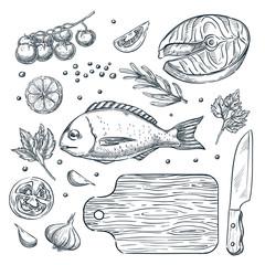 Cooking fish dorado and salmon steak, vector sketch illustration. Seafood restaurant menu design elements.