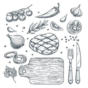 Cooking meat steak, vector sketch illustration. Restaurant, steak house menu design elements.