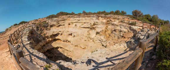 Top view of Benagil cave, Algarve Portugal