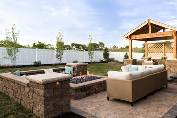 Outdoor Fire Pit and Landscaping