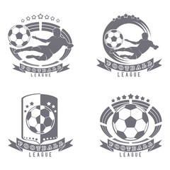 set of Football logos with a ball, football silhouette, shield, arena, stadium. a monochrome image