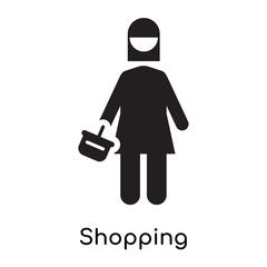 Shopping icon vector sign and symbol isolated on white background, Shopping logo concept icon