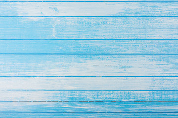 Fresh High Contrast Scratched Blue And White Painted Wood Background Top Angle