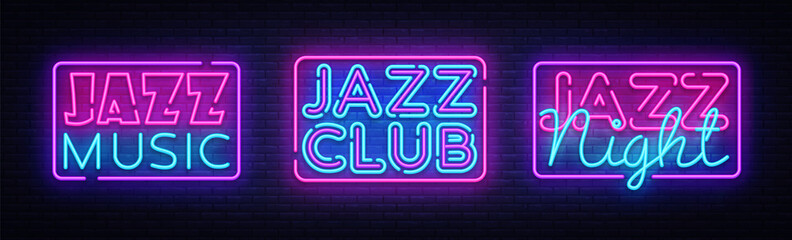 Poster Positive Typography Jazz Music neon signs collection vector. Jazz Music design template neon sign, light banner, neon signboard, nightly bright advertising. Vector illustration