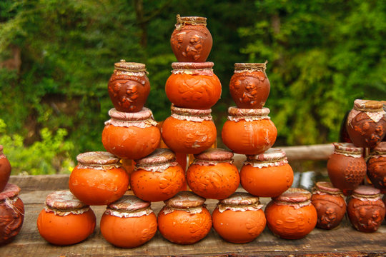clay pots of honey are a stack