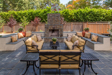 Comfortable & Inviting Outdoor Living Room and Fireplace
