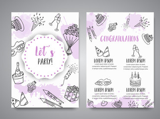 Birthday party doodle posters. Vector template banners for cards, invitation, flyer, party, wedding, brochure with hand drawn party elements All night party text