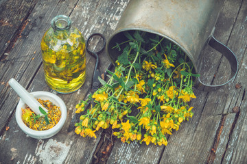 Hypericum - St Johns wort plants, oil or infusion bottle, mortar on wooden board.